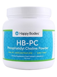 HB-PC Phosphatidyl Choline-40%, 300 g, GMO-FREE Powder (HBPC) Happy Bodies
