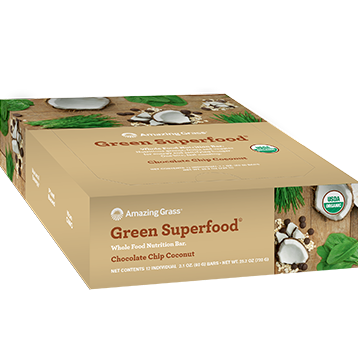 Green SuperFood Choc. Chip Coco 12 Bars Amazing Grass A51026