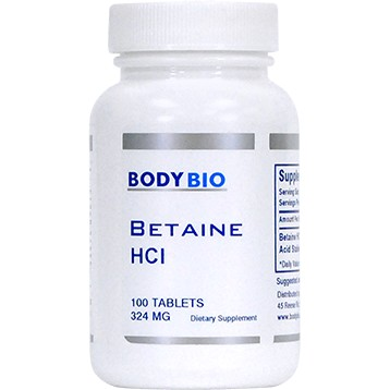 Betaine HCl 324 mg 100 tabs BodyBio HL213